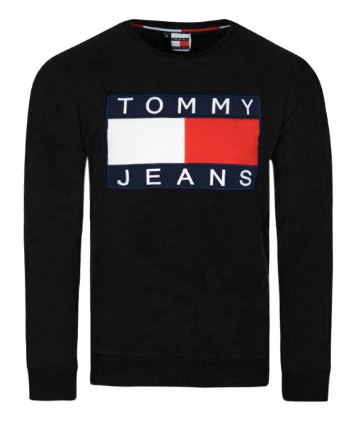9d7b6d11d TOMMY HILFIGER klasyczna bluza czarna TH63B | Bluzy \ bez kaptura
